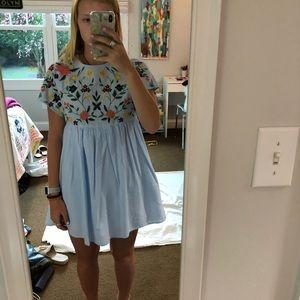 Zara embroidered blue little dress/romper